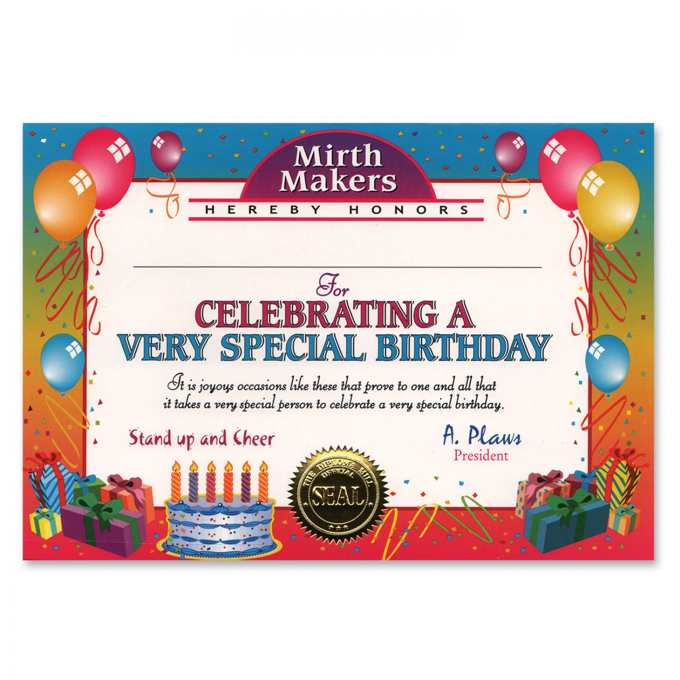 Very Special Birthday Certificate (6) image