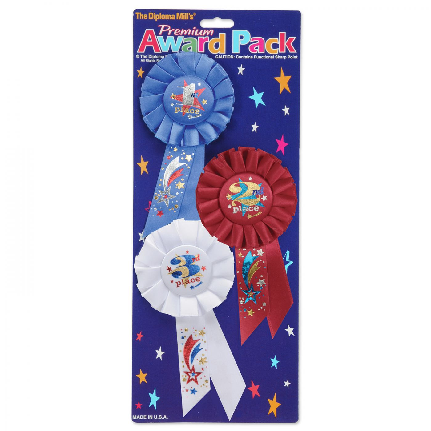 Image of 1st, 2nd, 3rd, Place Award Pack Rosettes (6)