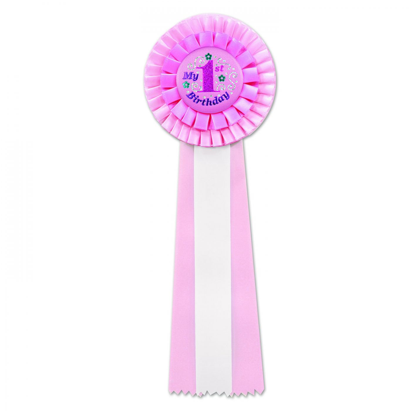 Pink My 1st Birthday Deluxe Rosette (3) image