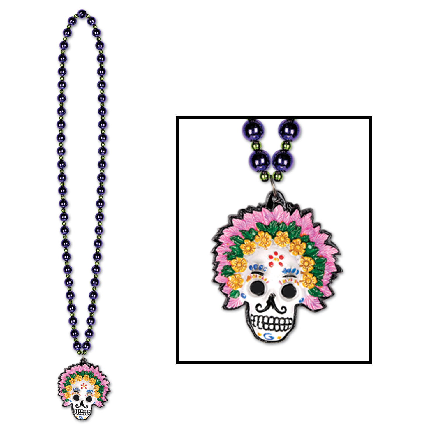 BEADS W/DAY OF THE DEAD MEDALLION (12) image