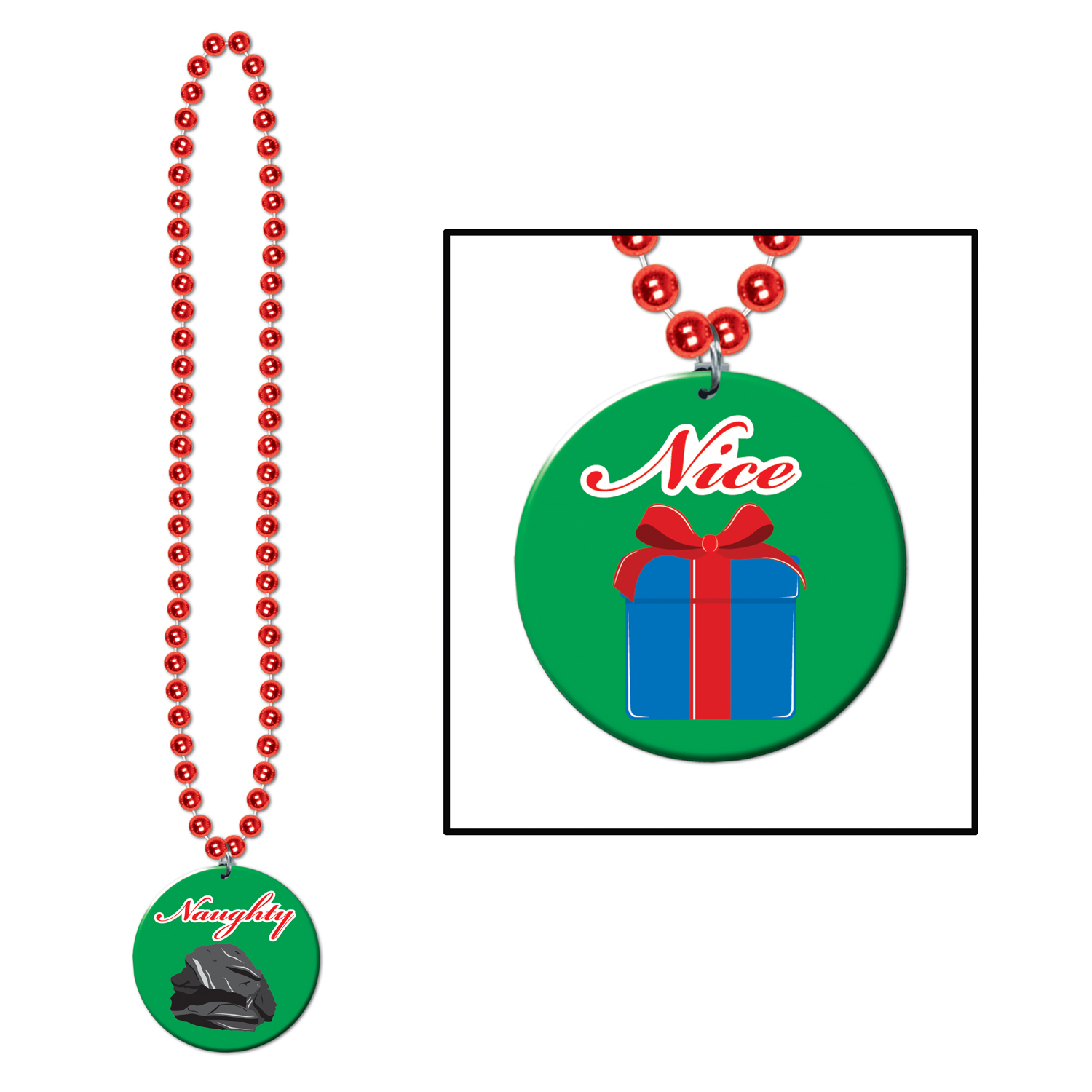 BEADS W/PRTD NAUGHTY OR NICE MEDAL (12) image