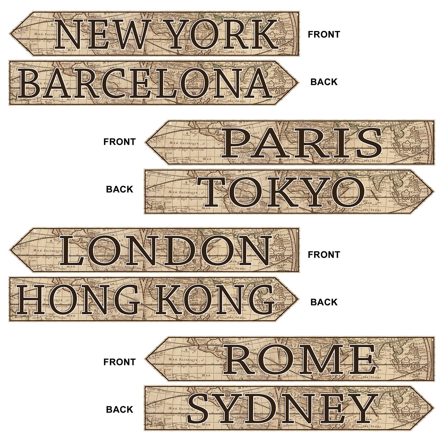 Image of AROUND THE WORLD STREET SIGN CUTOUTS (12)