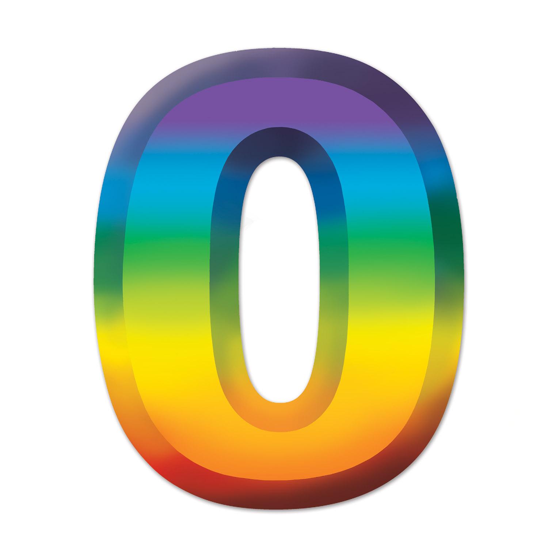 MULTI-COLOUR PLASTIC 3-D NUMBER  0  (24) image