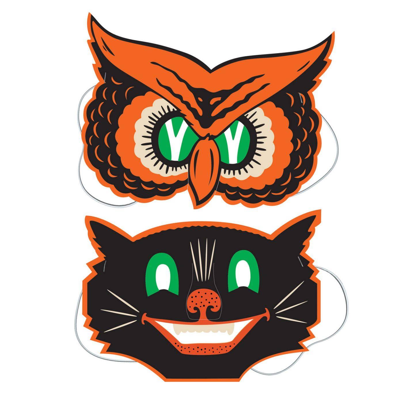 Vintage Halloween Owl & Cat Masks image